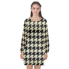 Houndstooth2 Black Marble & Beige Linen Long Sleeve Chiffon Shift Dress  by trendistuff