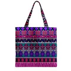 Tribal Seamless Aztec Pattern Zipper Grocery Tote Bag