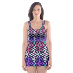 Tribal Seamless Aztec Pattern Skater Dress Swimsuit