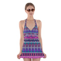 Tribal Seamless Aztec Pattern Halter Swimsuit Dress