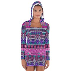 Tribal Seamless Aztec Pattern Long Sleeve Hooded T Shirt