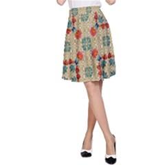 Traditional Scandinavian Pattern A Line Skirt