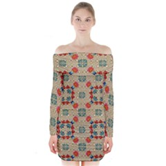 Traditional Scandinavian Pattern Long Sleeve Off Shoulder Dress