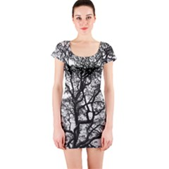 Tree Fractal Short Sleeve Bodycon Dress