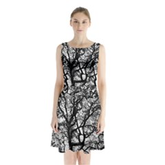 Tree Fractal Sleeveless Waist Tie Chiffon Dress