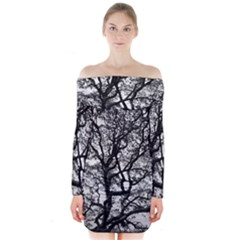 Tree Fractal Long Sleeve Off Shoulder Dress