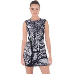 Tree Fractal Lace Up Front Bodycon Dress