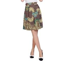 Traditional Batik Art Pattern A Line Skirt