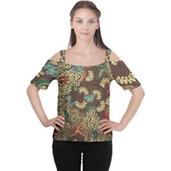 Traditional Batik Art Pattern Cutout Shoulder Tee