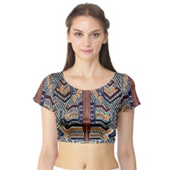 Traditional Batik Indonesia Pattern Short Sleeve Crop Top (tight Fit)