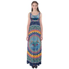 Traditional Pakistani Art Empire Waist Maxi Dress