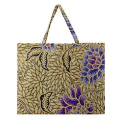 Traditional Art Batik Pattern Zipper Large Tote Bag by BangZart