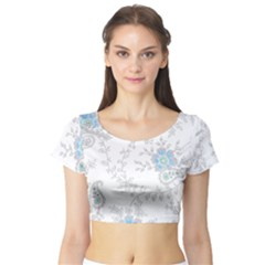 Traditional Art Batik Flower Pattern Short Sleeve Crop Top (tight Fit)