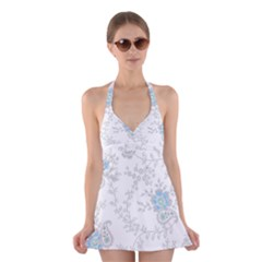 Traditional Art Batik Flower Pattern Halter Swimsuit Dress