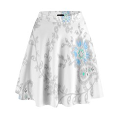 Traditional Art Batik Flower Pattern High Waist Skirt by BangZart