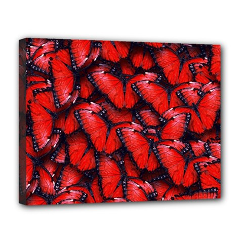 The Red Butterflies Sticking Together In The Nature Canvas 14  X 11  by BangZart