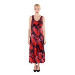 The Red Butterflies Sticking Together In The Nature Sleeveless Maxi Dress