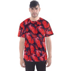The Red Butterflies Sticking Together In The Nature Men s Sports Mesh Tee