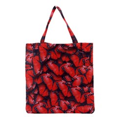 The Red Butterflies Sticking Together In The Nature Grocery Tote Bag