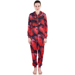 The Red Butterflies Sticking Together In The Nature Hooded Jumpsuit (ladies)  by BangZart