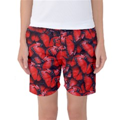 The Red Butterflies Sticking Together In The Nature Women s Basketball Shorts