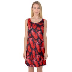 The Red Butterflies Sticking Together In The Nature Sleeveless Satin Nightdress