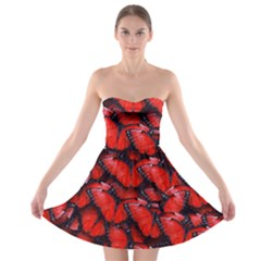 The Red Butterflies Sticking Together In The Nature Strapless Bra Top Dress