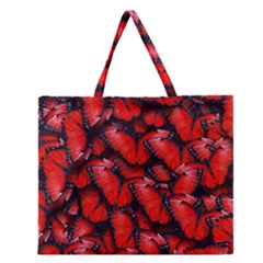 The Red Butterflies Sticking Together In The Nature Zipper Large Tote Bag