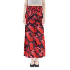 The Red Butterflies Sticking Together In The Nature Full Length Maxi Skirt