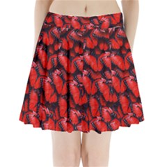 The Red Butterflies Sticking Together In The Nature Pleated Mini Skirt