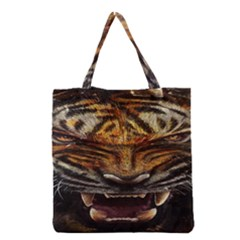 Tiger Face Grocery Tote Bag by BangZart