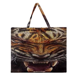 Tiger Face Zipper Large Tote Bag by BangZart