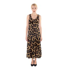Tiger Skin Art Pattern Sleeveless Maxi Dress