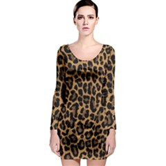 Tiger Skin Art Pattern Long Sleeve Bodycon Dress