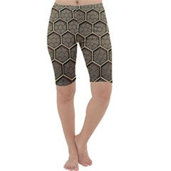 Texture Hexagon Pattern Cropped Leggings