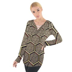 Texture Hexagon Pattern Tie Up Tee