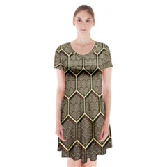 Texture Hexagon Pattern Short Sleeve V Neck Flare Dress