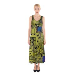 Technology Circuit Board Sleeveless Maxi Dress