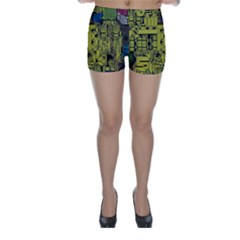 Technology Circuit Board Skinny Shorts