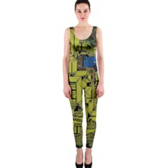 Technology Circuit Board Onepiece Catsuit