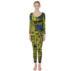 Technology Circuit Board Long Sleeve Catsuit