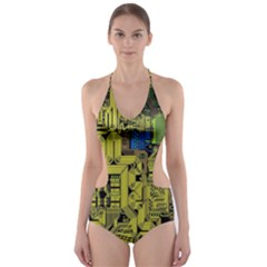 Technology Circuit Board Cut Out One Piece Swimsuit