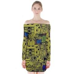 Technology Circuit Board Long Sleeve Off Shoulder Dress