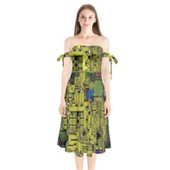Technology Circuit Board Shoulder Tie Bardot Midi Dress