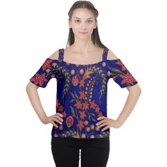 Texture Batik Fabric Cutout Shoulder Tee
