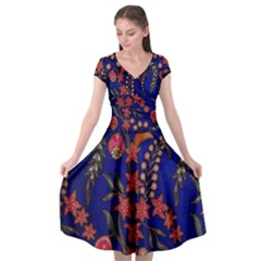 Texture Batik Fabric Cap Sleeve Wrap Front Dress