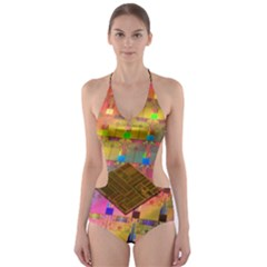 Technology Circuit Pentium Die Cut Out One Piece Swimsuit