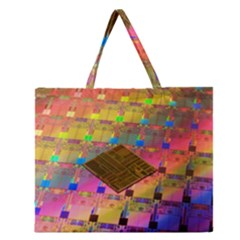 Technology Circuit Pentium Die Zipper Large Tote Bag by BangZart
