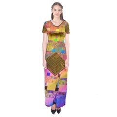 Technology Circuit Pentium Die Short Sleeve Maxi Dress