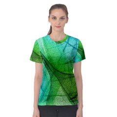 Sunlight Filtering Through Transparent Leaves Green Blue Women s Sport Mesh Tee